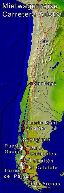 Patagonien Highlights Karte.Patagonien Rundreise Mit Mietwagen Carretera Austral Chile