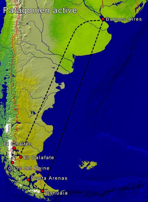 Patagonien Highlights Karte.Patagonien Active Patagonien Rundreise Patagonien Reisen
